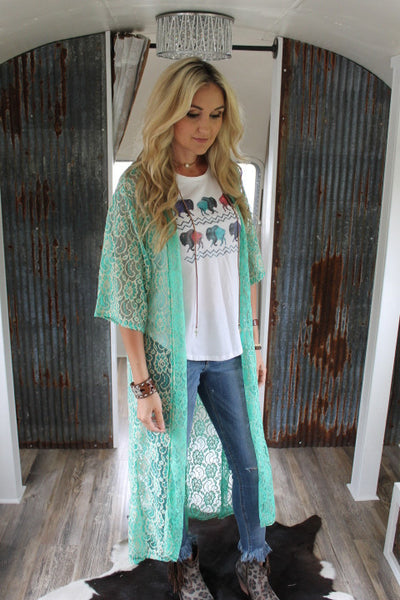 Gypsy Mint Lace Duster