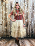 Tierney Tulle Tiered Skirt (in Beige)