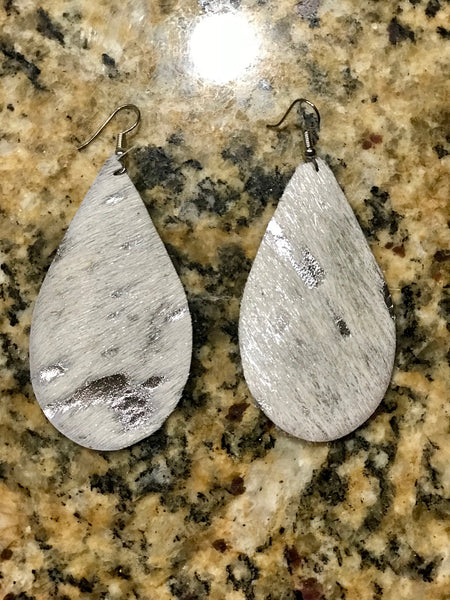 Platinum Cowhide Leather Earrings
