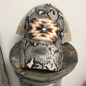 Brooklyn Animal Print Leather Patch Ball Cap