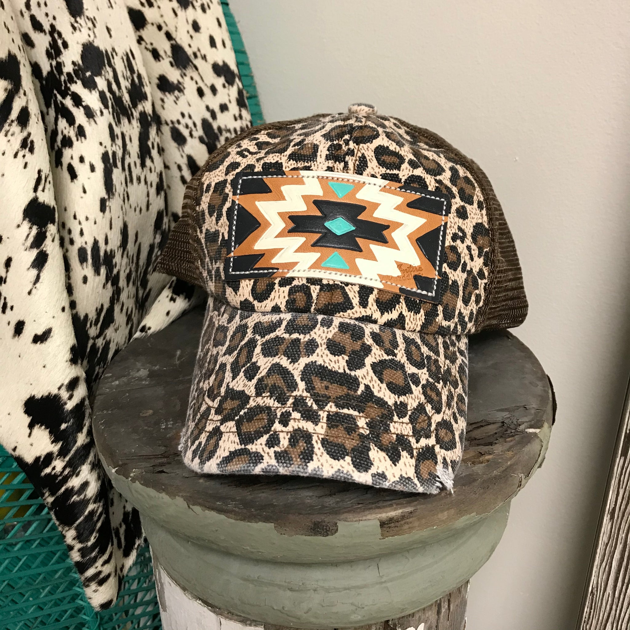 Leopard Turquoise Aztec Leather Patch Ball Cap