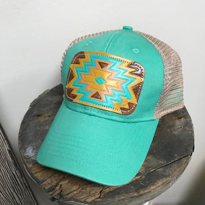 Barbee Mint Leather Patch Ball Cap