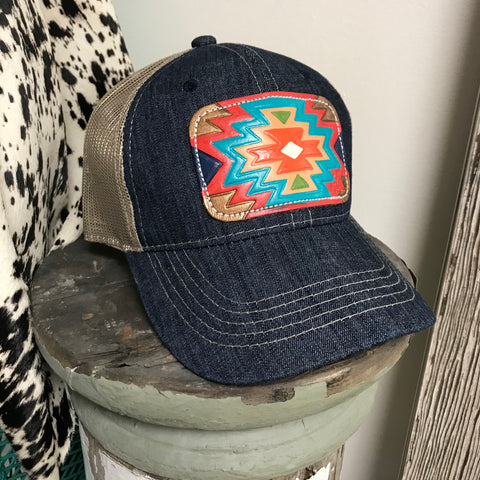 Lauren Denim Leather Patch Ball Cap