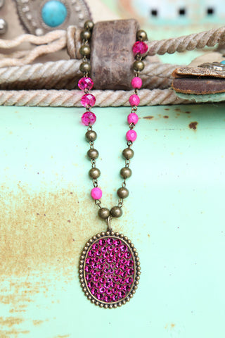 AB Pendant Oval Necklace (Pink) ~ Pink Panache