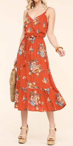 Granbury Floral Dress in Rust