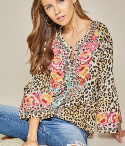 Bridgette Leopard Embroidered Top