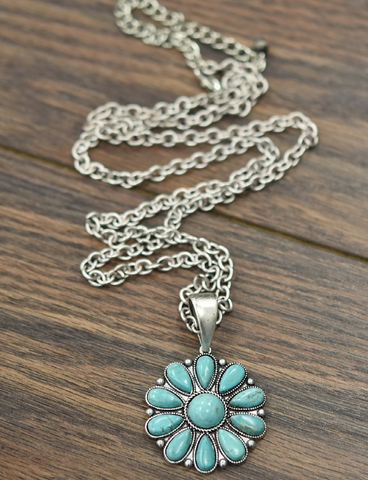 Johnson City Multi Color Turquoise Pendant Chain Necklace