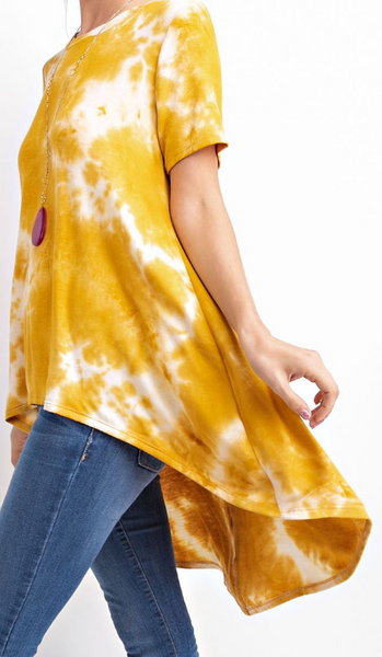 Marlo Mustard Tie Dye High Low Top