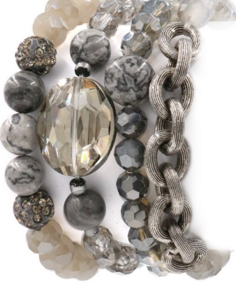 Gypsy Glass & Stone Bracelet Bundle (4pc) GRAY