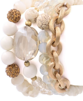 Gypsy Glass & Stone Bracelet Bundle (4pc) IVORY