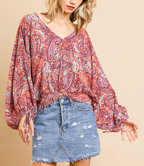 Magdeline Boho Print Twist Top in Mauve