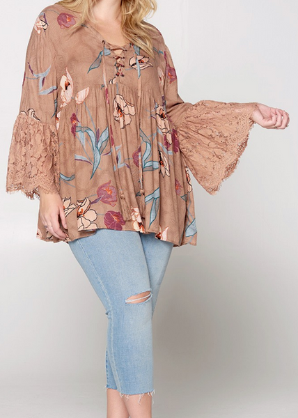 Passion Floral Lace Up Top in Mocha - Plus