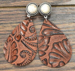 Teardrops On My Guitar Leather Earrings