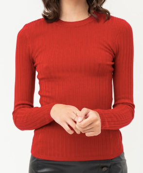 Devon Ribbed Top in Red