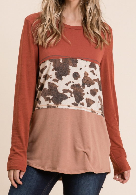 Round Up Animal Print Top in Plus