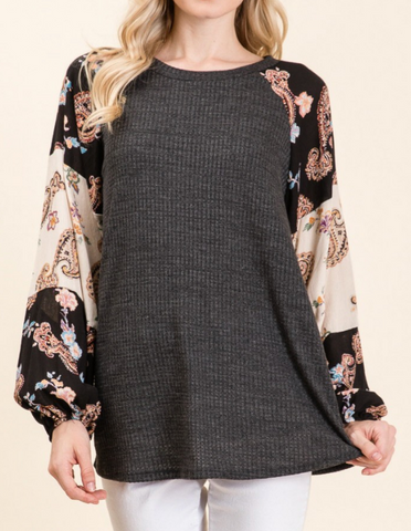 Rosa Floral Sleeve Top in Plus