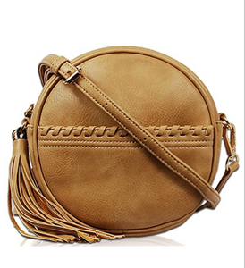 Uptown Round Faux Leather Bag
