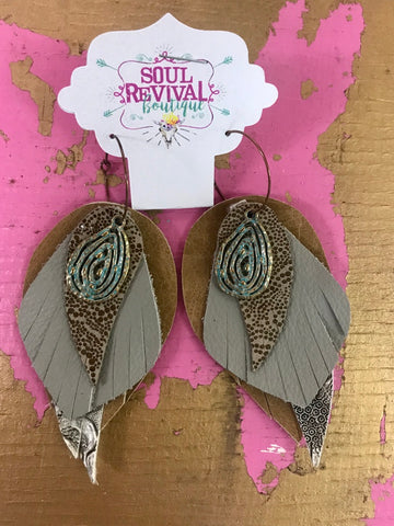 Feather Glitz Earrings in Taupe Charm Foil