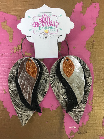 Feather Glitz Earrings in Silver Tooled Foil