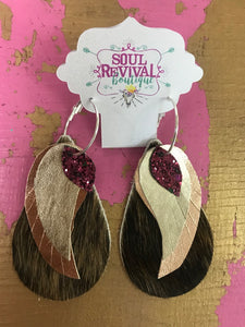 Feather Glitz Earrings in Brindle Hair on Hide