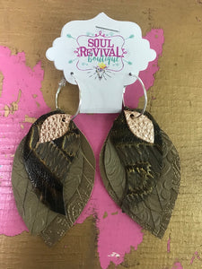 Feather Glitz Earrings in Taupe Tooled Leather