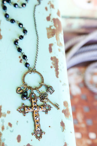 Black & Brass Cross Necklace ~ Pink Panache