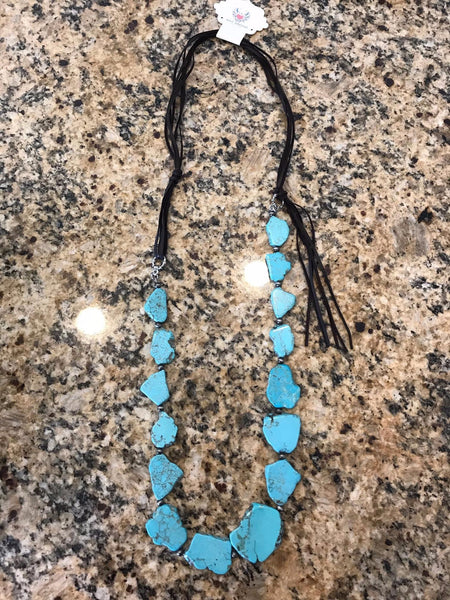 Amy Turquoise Slab & Leather Necklace (Available in Tan Leather)