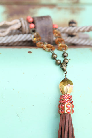 Crystal Tassel Necklace (Coral or Pearl) ~ Pink Panache
