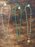 Stamped Cross Charm Necklace (Available in Turquoise, Pearl, & Mocha)