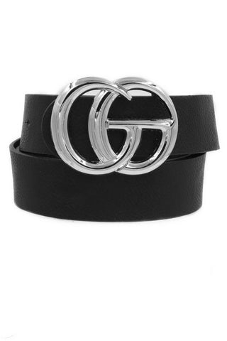Double Ring Bling Silver Buckle Belt in Black