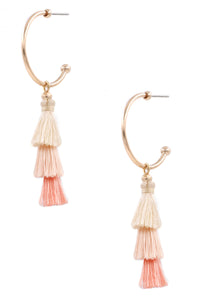 Tia Tassel Earrings in Peach