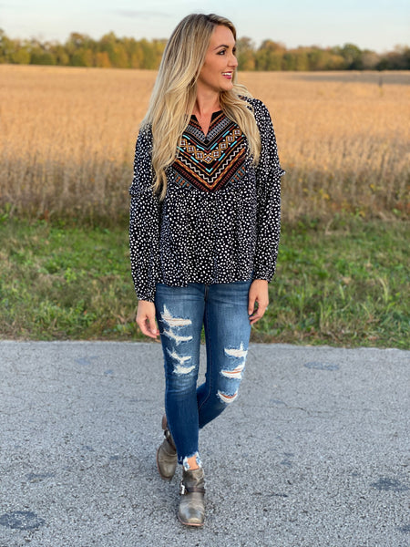 Dalmatian Embroidered Top