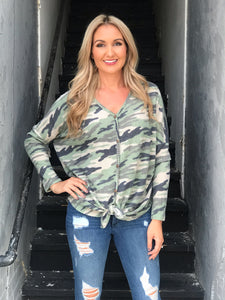 Hidden Away Camo Tie Top