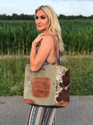 Vintage Canvas Hair on Hide Pocket Tote Bag