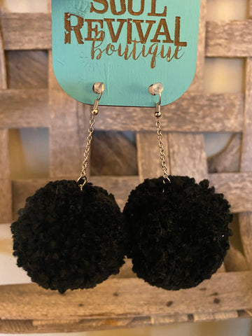 Pom Pom Earrings in Black