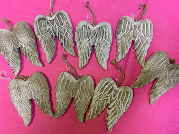 Wood Angel Wing Ornament