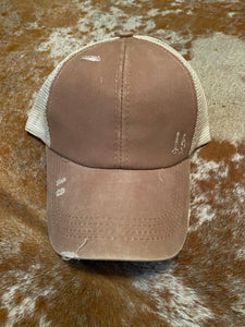 Summer Girl Distressed Ball Cap in Tan