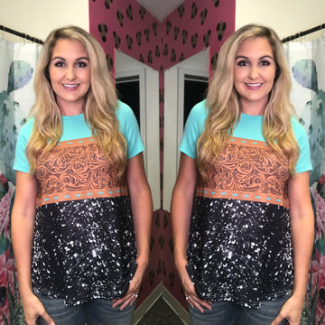 Tyler Tooled Leather Turquoise Top
