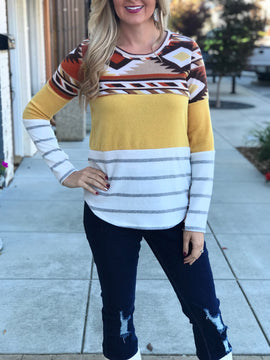 Nampa Aztec Color Block Top in Mustard