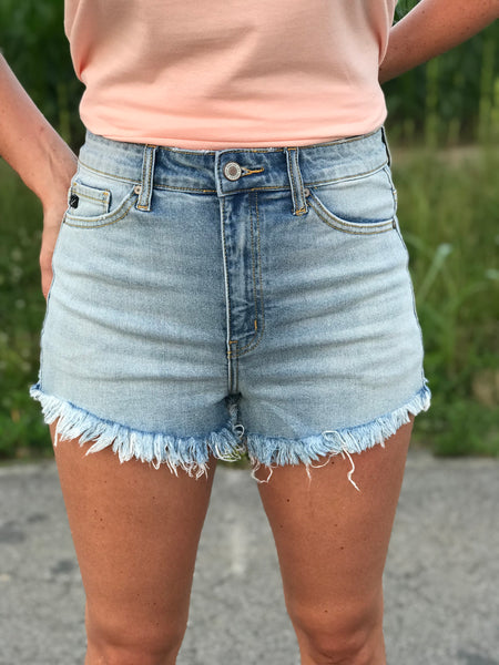 Beverly Hills Light Wash Denim Cutoffs