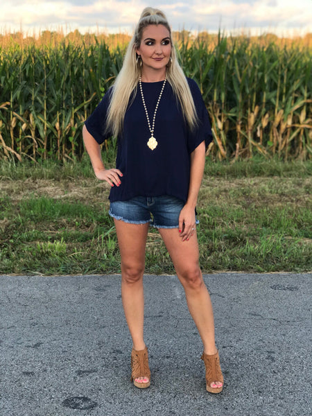 Fall Night Top in Navy