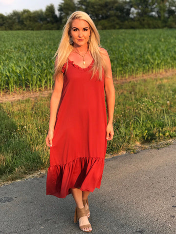Sunset Breeze Rust Ruffle Maxi Dress