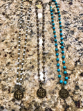 Stamped Cross Beaded Charm Necklace (Available in Turquoise, Pearl, & Mocha)