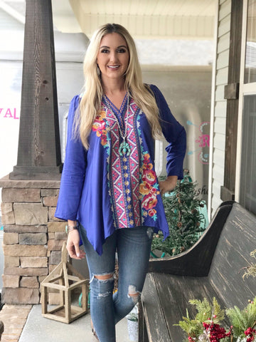 Cheyenne Royal Blue Embroidered Tunic