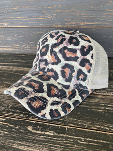 Leopard Lady Distressed Ball Cap