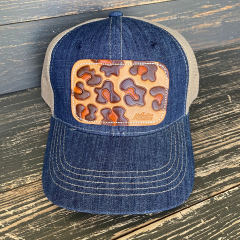 Denim Leopard Patch Ball Cap