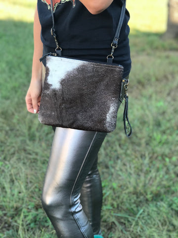 Hair on Hide Hobo Style Purse (Black Leather Strap & Dark Hide)