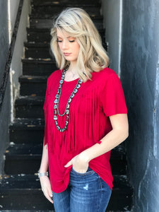 Fringe in Low Places Top in Red