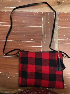 Buffalo Plaid Crossbody Handbag in Red Check
