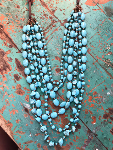Libertas Turquoise Multi Strand Necklace & Earrings